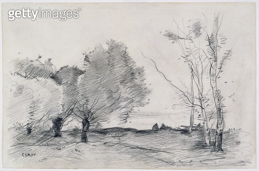 <b>Title</b> : Landscape, 1860-68 (pencil & crayon on paper)<br><b>Medium</b> : crayon and pencil on wove paper<br><b>Location</b> : Brooklyn Museum of Art, New York, USA<br> - gettyimageskorea