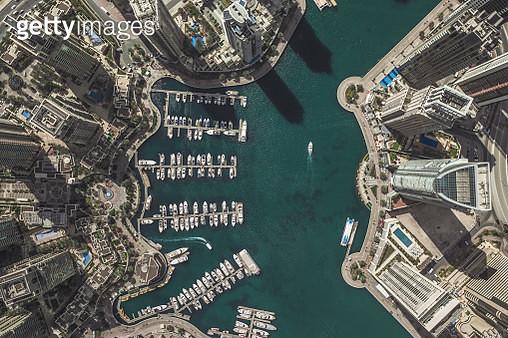 Aerial shot of city marina, Dubai, United Arab Emirates - gettyimageskorea
