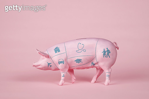 Pink pig coin bank with butcher's diagram and icons on pink background. - gettyimageskorea