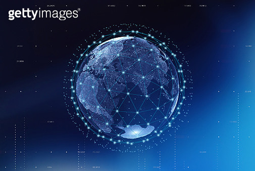 Digitally Generated Image Of Globe With Global Connections - gettyimageskorea