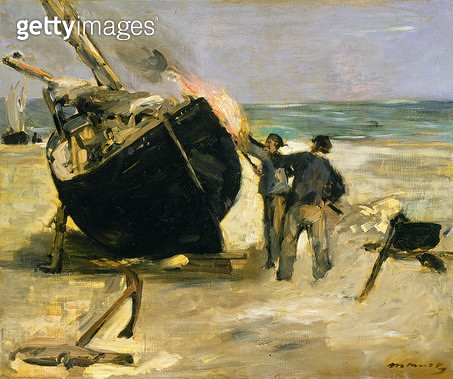 <b>Title</b> : Tarring the Boat, 1873 (oil on canvas)<br><b>Medium</b> : oil on canvas<br><b>Location</b> : The Barnes Foundation, Merion, Pennsylvania, USA<br> - gettyimageskorea