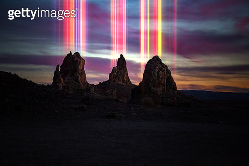 Colorful rainbow light emerging from the Trona Pinnacles formations in California. - gettyimageskorea