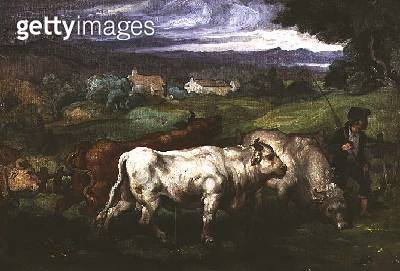 Cattle and a Drover in a Landscape - gettyimageskorea