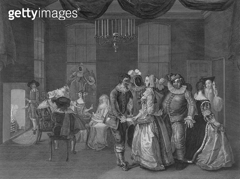 <b>Title</b> : Interior view of Somerset House showing figures dressed for a masquerade, 1805 (engraving)<br><b>Medium</b> : engraving<br><b>Location</b> : Guildhall Library, City of London<br> - gettyimageskorea