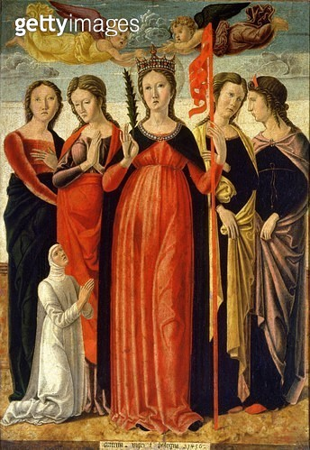 <b>Title</b> : St. Ursula and Four Saints (tempera on panel)<br><b>Medium</b> : <br><b>Location</b> : Galleria dell' Accademia, Venice, Italy<br> - gettyimageskorea