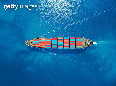aerial top view container ship Park for import export logistics in  pier, thailand. - gettyimageskorea
