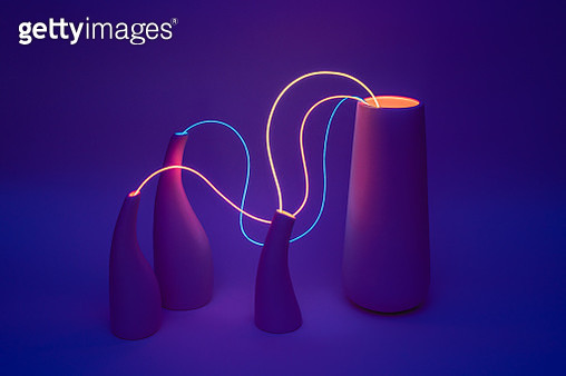 Neon Cable Wired Vases on Dark Purple Background, Connect and Link Networking Concept. - gettyimageskorea