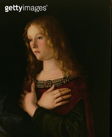 <b>Title</b> : Mary Magdalene, detail from the Virgin and Child with St. Catherine and Mary Magdalene, c.1500 (oil on panel)<br><b>Medium</b> : oil on panel<br><b>Location</b> : Galleria dell' Accademia, Venice, Italy<br> - gettyimageskorea