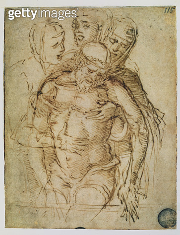 <b>Title</b> : Pieta, attributed to either Giovanni Bellini (c.1430-1516) or Andrea Mantegna (1430-1516) (pen and ink on paper)<br><b>Medium</b> : <br><b>Location</b> : Galleria dell' Accademia, Venice, Italy<br> - gettyimageskorea