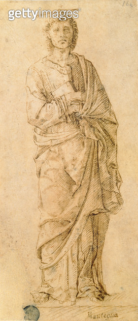 <b>Title</b> : St. John the Evangelist, attributed to either Giovanni Bellini (c.1430-1516) or Andrea Mantegna (1430-1516) (pen and ink on pape<br><b>Medium</b> : pen and ink on paper<br><b>Location</b> : Galleria dell' Accademia, Venice, Italy<br> - gettyimageskorea