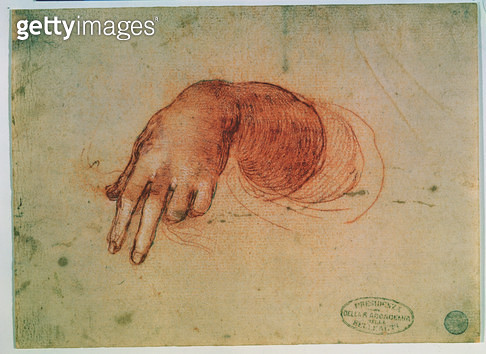 <b>Title</b> : Study of a hand (red chalk on paper)<br><b>Medium</b> : <br><b>Location</b> : Galleria dell' Accademia, Venice, Italy<br> - gettyimageskorea