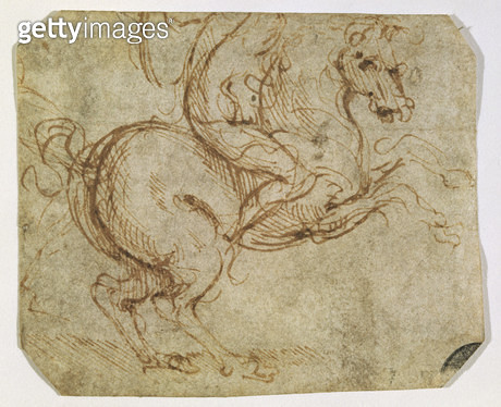 <b>Title</b> : Horse and Cavalier (pen and ink on paper)<br><b>Medium</b> : pen and ink on paper<br><b>Location</b> : Galleria dell' Accademia, Venice, Italy<br> - gettyimageskorea