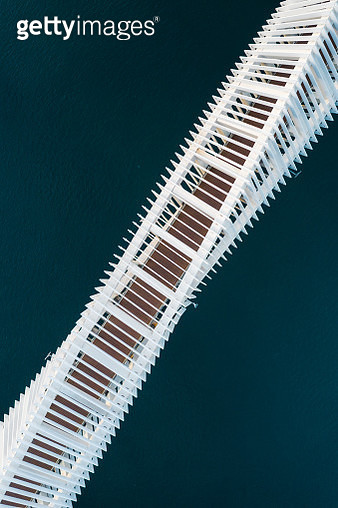 Diagonal aerial shot of bridge crossing a river, United Arab Emirates - gettyimageskorea