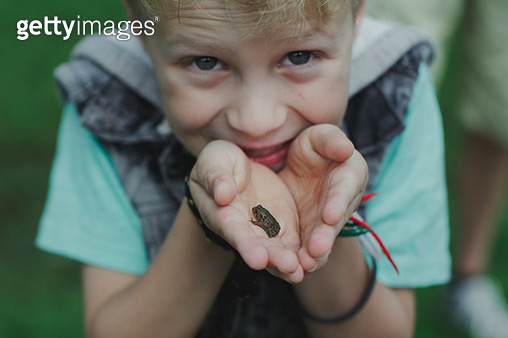 Little boy holding a small toad - gettyimageskorea