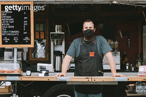Food Truck Owner Wearing Protective Face Mask - gettyimageskorea