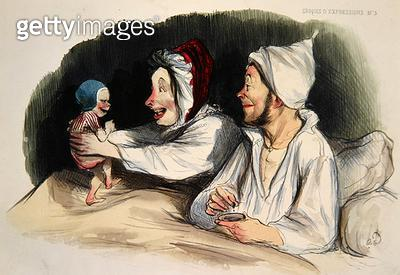 <b>Title</b> : Ecstatic parents with their new baby (colour litho)Additional InfoParents extasies devant leur bebe; Croquis d'expression;<br><b>Medium</b> : colour lithograph<br><b>Location</b> : Private Collection<br> - gettyimageskorea