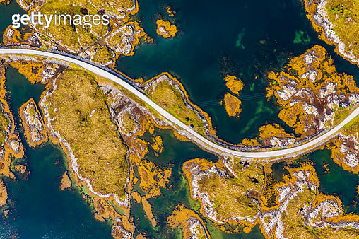 Aerial view of beautiful road with bridge on the island Smola, Norway. - gettyimageskorea