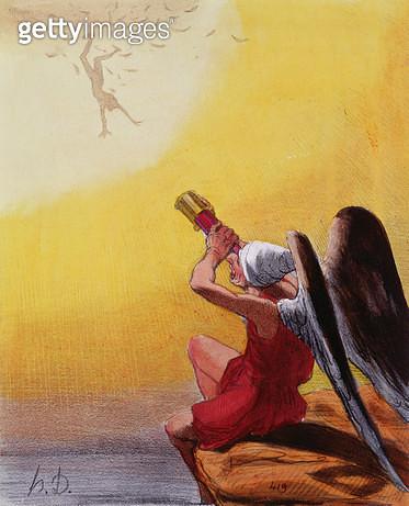 <b>Title</b> : The Fall of Icarus (colour litho)Additional InfoLa Chute d'Icare; Caricature d'une serie sur la mythologie; from a series of car<br><b>Medium</b> : <br><b>Location</b> : Musee de la Ville de Paris, Musee Carnavalet, Paris, France<br> - gettyimageskorea