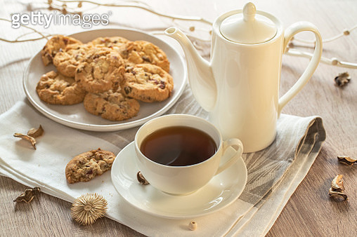 Black tee and tasty cookies at breakfast - gettyimageskorea