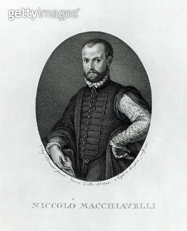 <b>Title</b> : Portrait of Niccolo Machiavelli (1469-1527), engraved by Rafaello Morgan (1758-1833) in 1795 (engraving) (b/w photo)<br><b>Medium</b> : engraving<br><b>Location</b> : Private Collection<br> - gettyimageskorea