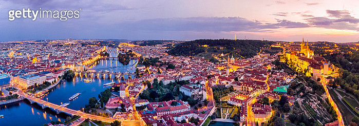 Aerial view of Prague at twilight with Vltava river - gettyimageskorea