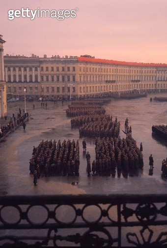 High angle view of a military parade, Winter Palace, Hermitage Museum, St. Petersburg, Russia - gettyimageskorea