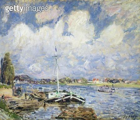 <b>Title</b> : Boats on the Seine, c.1877<br><b>Medium</b> : oil on canvas<br><b>Location</b> : Samuel Courtauld Trust, Courtauld Institute of Art Gallery<br> - gettyimageskorea