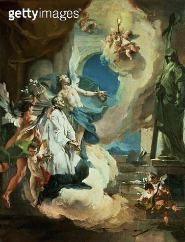 <b>Title</b> : St. Aloysius Gonzaga in Glory, c.1726 (oil on canvas)<br><b>Medium</b> : oil on canvas<br><b>Location</b> : Samuel Courtauld Trust, Courtauld Institute of Art Gallery<br> - gettyimageskorea