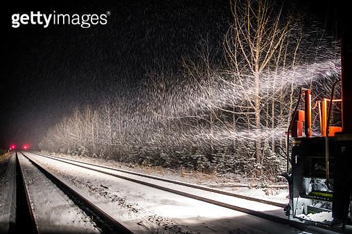Railway in snow, Jasper National Park, Alberta, Canada - gettyimageskorea