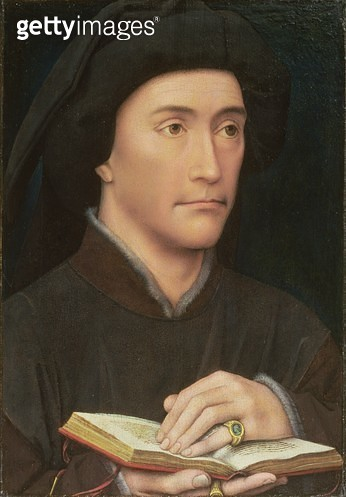 <b>Title</b> : Portrait of a Man holding an Open Book (possibly Bishop Guillaume Fillastre) pre 1437 (oil on panel) (for verso see 65800)<br><b>Medium</b> : oil on panel<br><b>Location</b> : Samuel Courtauld Trust, Courtauld Institute of Art Gallery<br> - gettyimageskorea