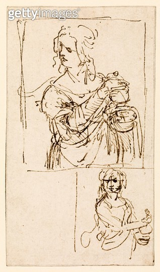 <b>Title</b> : Studies for a `St. Mary Magdalene', c.1480 (pen & ink on paper)<br><b>Medium</b> : pen and ink on paper<br><b>Location</b> : Samuel Courtauld Trust, Courtauld Institute of Art Gallery<br> - gettyimageskorea
