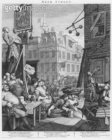 <b>Title</b> : Beer Street, 1751 (engraving)<br><b>Medium</b> : engraving<br><b>Location</b> : Private Collection<br> - gettyimageskorea