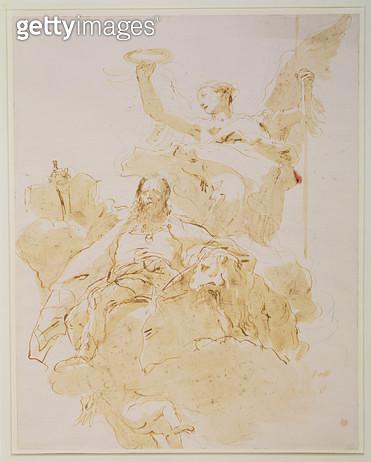 <b>Title</b> : Glorification of the Porto Family, c.1755-60 (pen, brown ink and wash, black chalk)<br><b>Medium</b> : pen, brown ink and wash, black chalk<br><b>Location</b> : Samuel Courtauld Trust, Courtauld Institute of Art Gallery<br> - gettyimageskorea