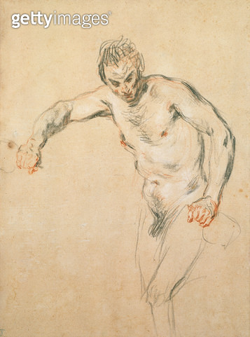 <b>Title</b> : A Satyr pouring Wine, c.1716 (chalk on paper)<br><b>Medium</b> : chalk on paper<br><b>Location</b> : Samuel Courtauld Trust, Courtauld Institute of Art Gallery<br> - gettyimageskorea