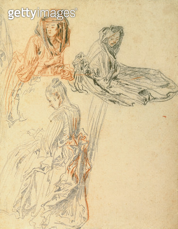 <b>Title</b> : Studies of Three Seated Women, c.1716-18 (chalk on paper)<br><b>Medium</b> : chalk on paper<br><b>Location</b> : Samuel Courtauld Trust, Courtauld Institute of Art Gallery<br> - gettyimageskorea