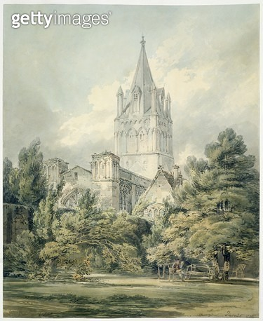 <b>Title</b> : No.0917 Christ Church, Oxford, 1794 (w/c)<br><b>Medium</b> : <br><b>Location</b> : <br> - gettyimageskorea