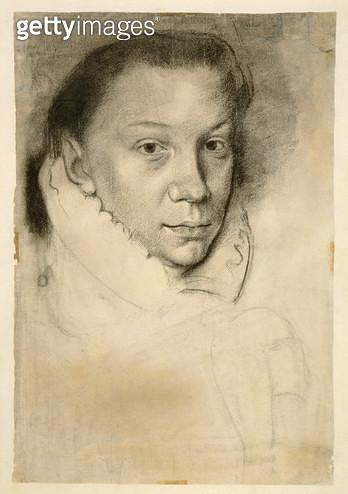 <b>Title</b> : PD.22-1978 Elizabeth de Valois (after Anthonis Mor or Moro), c.1880 (charcoal on paper)<br><b>Medium</b> : charcoal on paper<br><b>Location</b> : Fitzwilliam Museum, University of Cambridge, UK<br> - gettyimageskorea