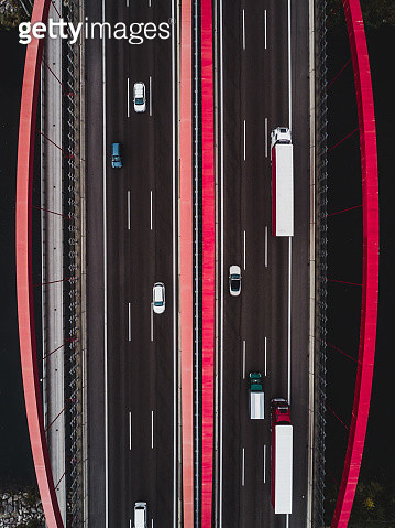 Road bridge as seen from above, Germany - gettyimageskorea