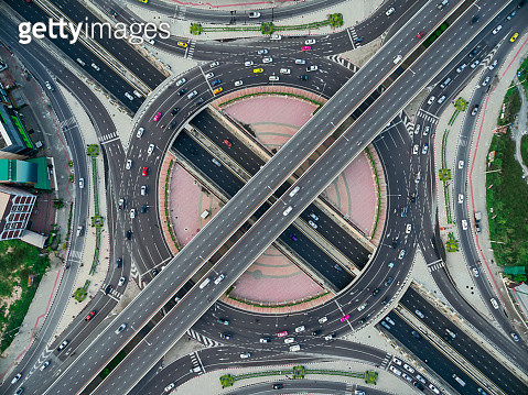 Road roundabout large The road has six lines beautiful  , Bird Eye View . - gettyimageskorea