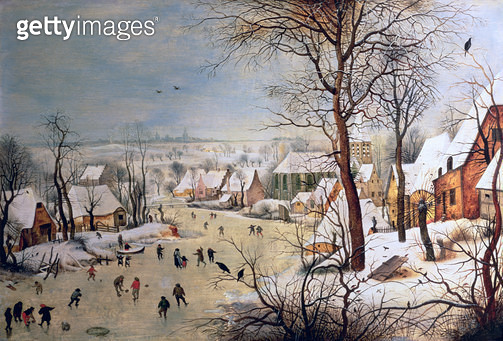 <b>Title</b> : Winter Landscape with Birdtrap, 1601 (oil on panel)<br><b>Medium</b> : oil on panel<br><b>Location</b> : Kunsthistorisches Museum, Vienna, Austria<br> - gettyimageskorea