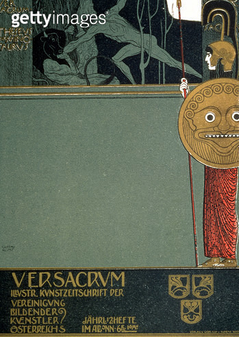 <b>Title</b> : Cover of 'Ver Sacrum', the journal of the Viennese Secession, depicting Theseus and the Minotaur, at the time of the first Secession exhibition in Vienna, 1898 (lithograph)<br><b>Medium</b> : lithograph<br><b>Location</b> : Historisches Mus - gettyimageskorea