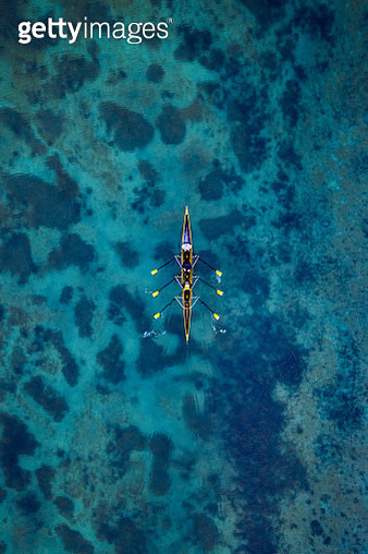 Aerial view of rowing boat on a lake, Germany - gettyimageskorea