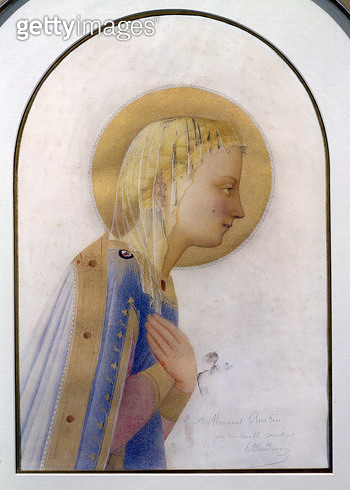 <b>Title</b> : Portrait of the Madonna, after Fra Angelico (c.1387-1455), c.1883 (w/c on paper heightened with gold)Additional Infowith an insc<br><b>Medium</b> : watercolour on paper heightened with gold<br><b>Location</b> : Private Collection<br> - gettyimageskorea
