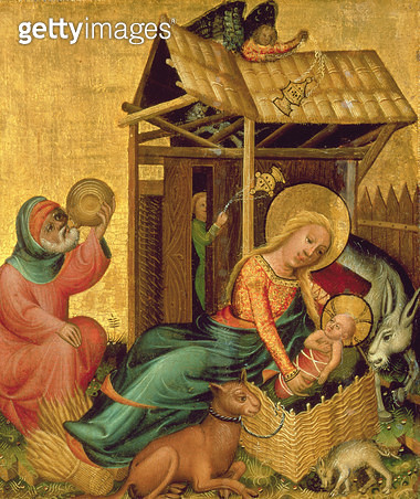 <b>Title</b> : The Nativity, from the Buxtehude Altar, 1400-10 (tempera on panel)<br><b>Medium</b> : tempera on panel<br><b>Location</b> : Hamburger Kunsthalle, Hamburg, Germany<br> - gettyimageskorea