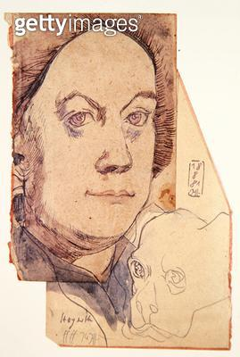 <b>Title</b> : William Hogarth, 18th August 1981 (pen & ink and w/c on paper)Additional InfoWilliam Hogarth (1697-1764) English artist;<br><b>Medium</b> : pen and ink and watercolour on paper<br><b>Location</b> : Private Collection<br> - gettyimageskorea