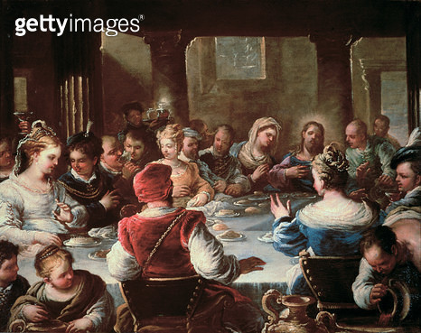 <b>Title</b> : The Marriage at Cana (oil on canvas)Additional InfoLes Noces de Cana;<br><b>Medium</b> : <br><b>Location</b> : Museo e Gallerie Nazionali di Capodimonte, Naples, Italy<br> - gettyimageskorea