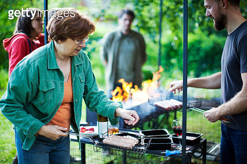 Russian family outdoors for barbecue - gettyimageskorea