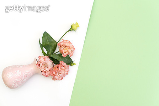pastel flowers for Mothers day on blue table top view. Flat lay style. - gettyimageskorea