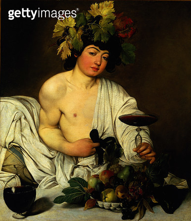 <b>Title</b> : The Young Bacchus, c.1589 (oil on canvas) (see also 9648)<br><b>Medium</b> : oil on canvas<br><b>Location</b> : Galleria degli Uffizi, Florence, Italy<br> - gettyimageskorea