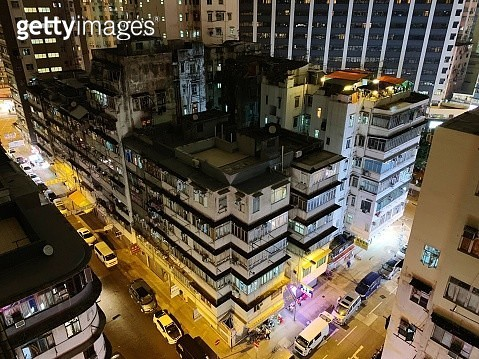 High Angle View Of Illuminated Buildings In City - gettyimageskorea